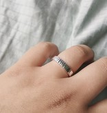 Silver Suspensions Chiselled Square Forged Ring- Shiny