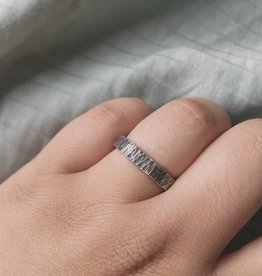 Silver Suspensions Chiselled Square Forged Ring- Dark