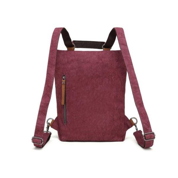 DaVan CLB567 Cotton/ Linen Backpack/ Shoulder Bag- Burgundy
