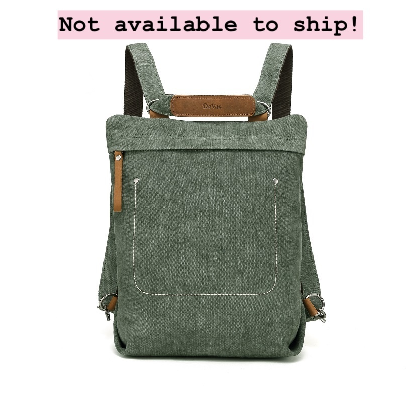 DaVan CLB567 Linen/ Cotton Backpack/ Shoulder Bag- Green