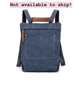 DaVan CLB567 Cotton/ Linen Backpack/ Shoulder Bag- Blue