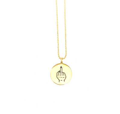Glass House Goods Middle Finger Necklace- Gold