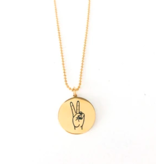 Glass House Goods Peace Sign Necklace- Gold