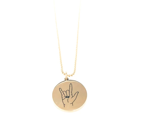Glass House Goods I Love You Necklace- Gold