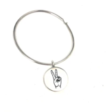 Glass House Goods Peace Sign Bangle- Stainless S/M