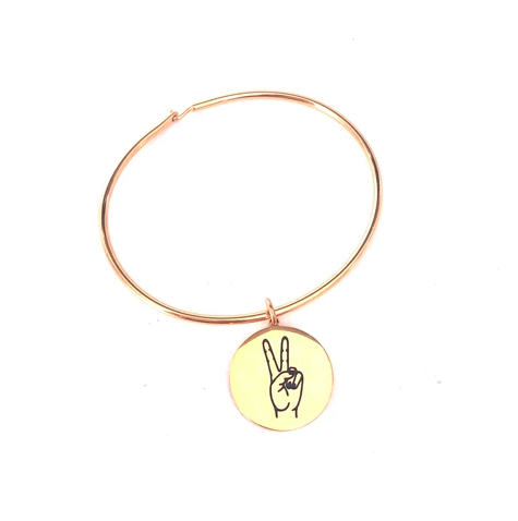 Glass House Goods Peace Sign Bangle- Gold S/M