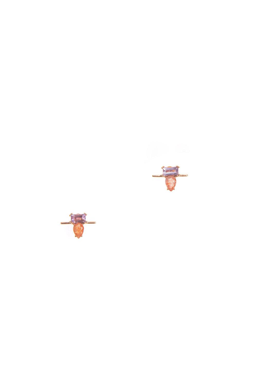 Hailey Gerrits Lisbon Studs- Pink Amethyst & Sunstone