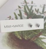 mimi + marge Tiny Silver Skull Studs