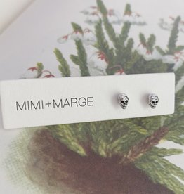 mimi + marge Tiny Silver Skull Studs