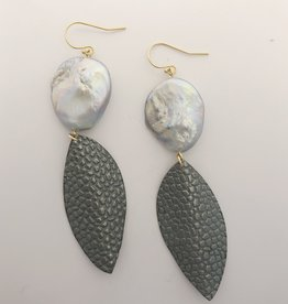 Air & Earth Designs Leaf and Pearl Earring