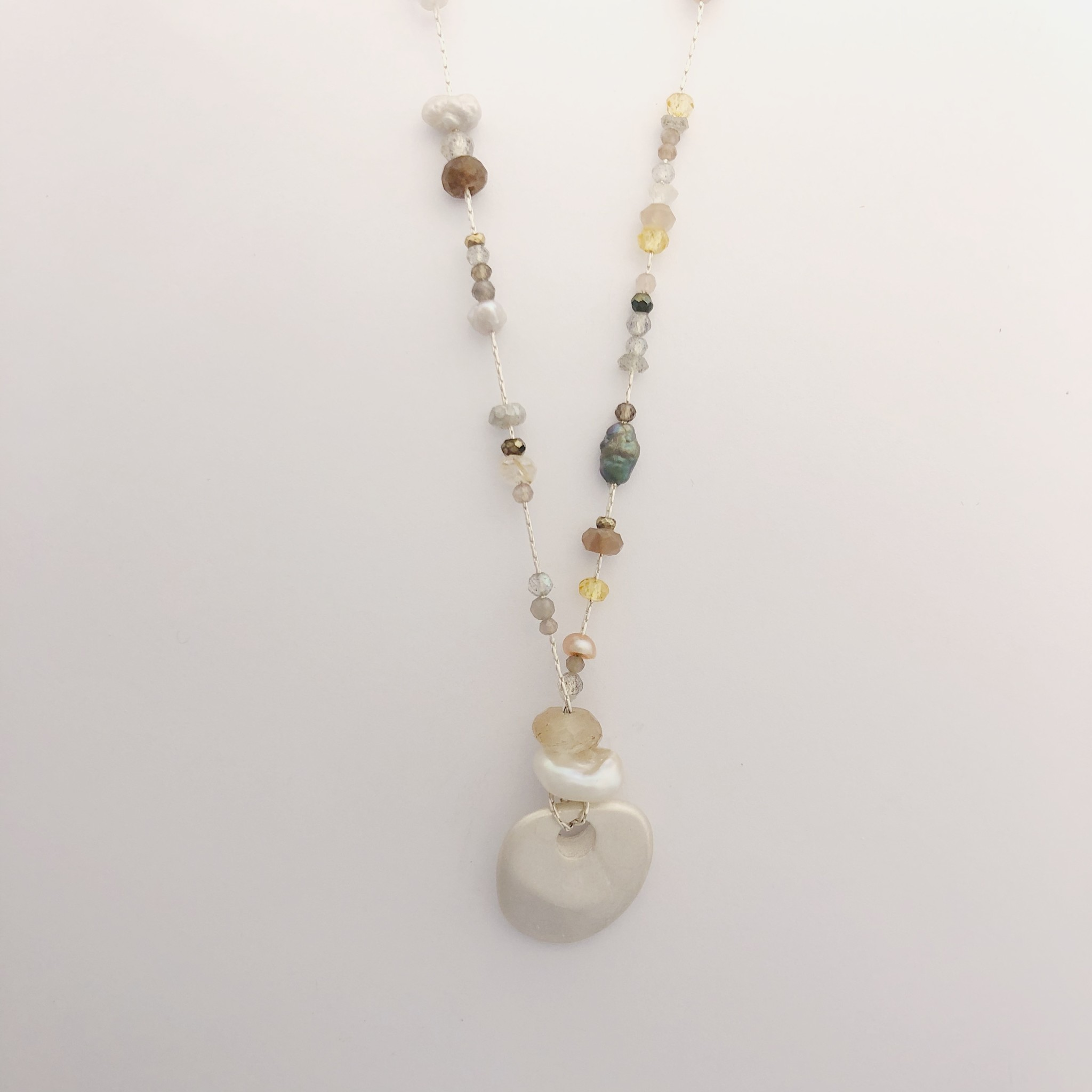 Air & Earth Designs Seastone Necklace Honey- 24""