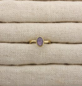 Lissa Bowie Small Brass Stone Ring- Amethyst Sz 6