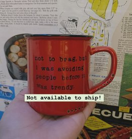 Lace and Twig Not to Brag Mug- Red
