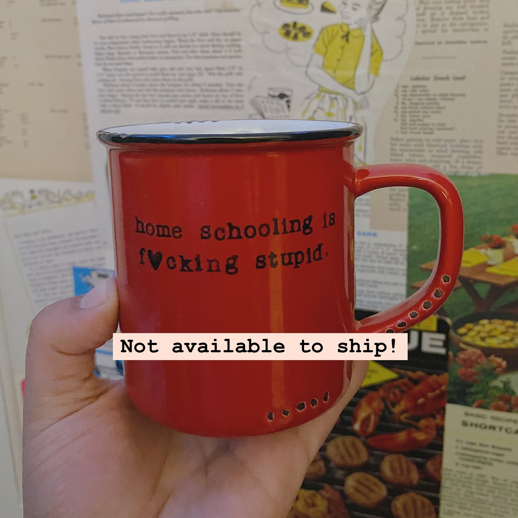 Lace and Twig Home Schooling Mug- Red