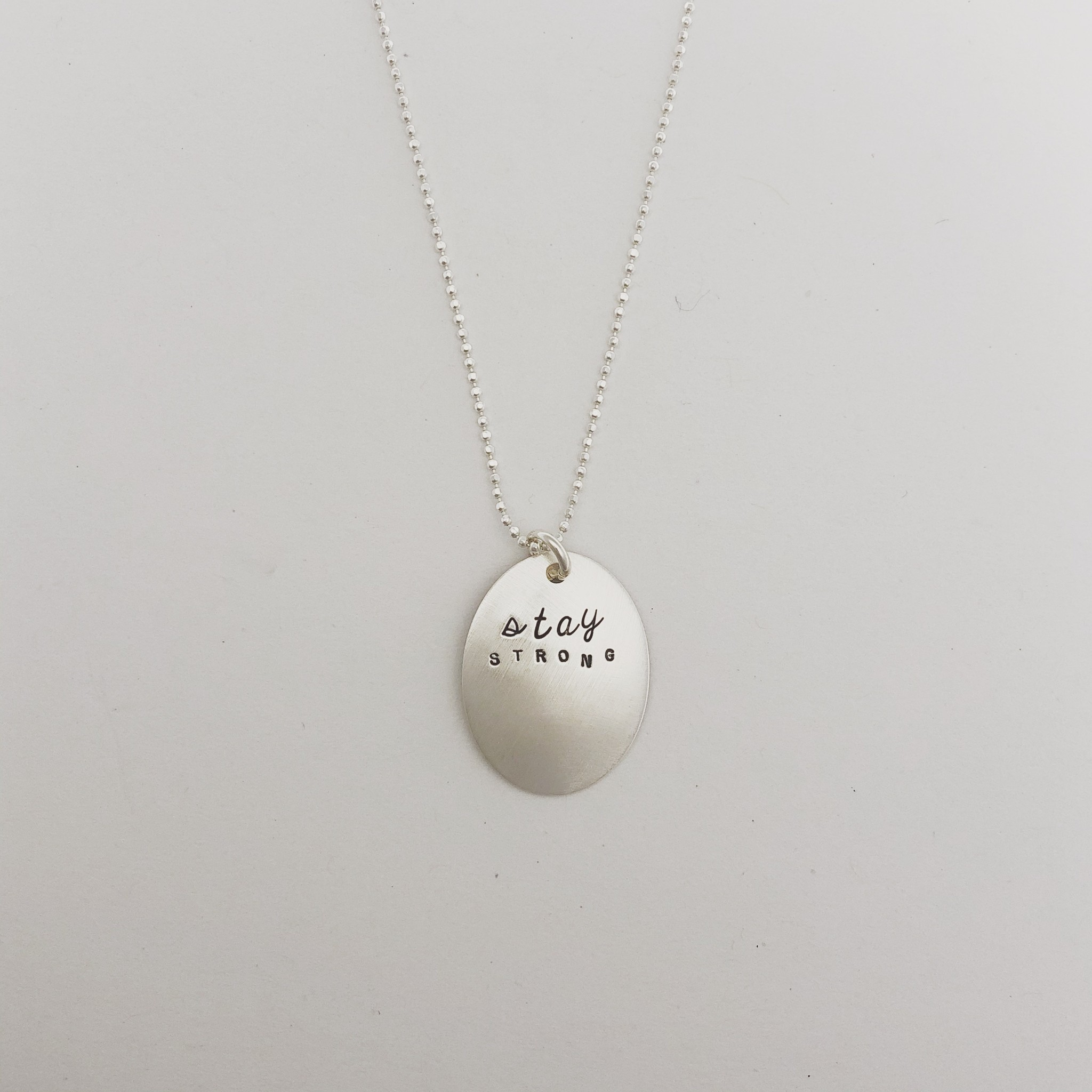 """Andrea Waines """"Stay Strong"""" Inspired Oval Necklace 18"""""""