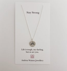 """Andrea Waines Stay Strong Mountain Necklace 18"""""""