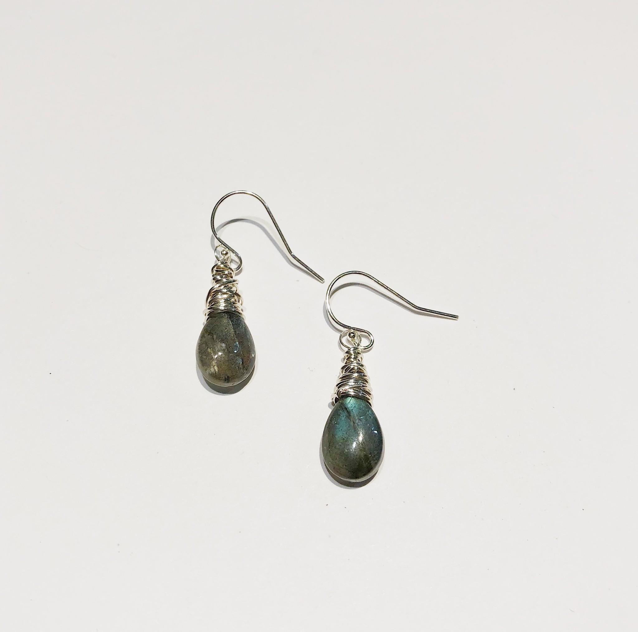 Dianne Rodger Silver Petal Earrings- Labradorite
