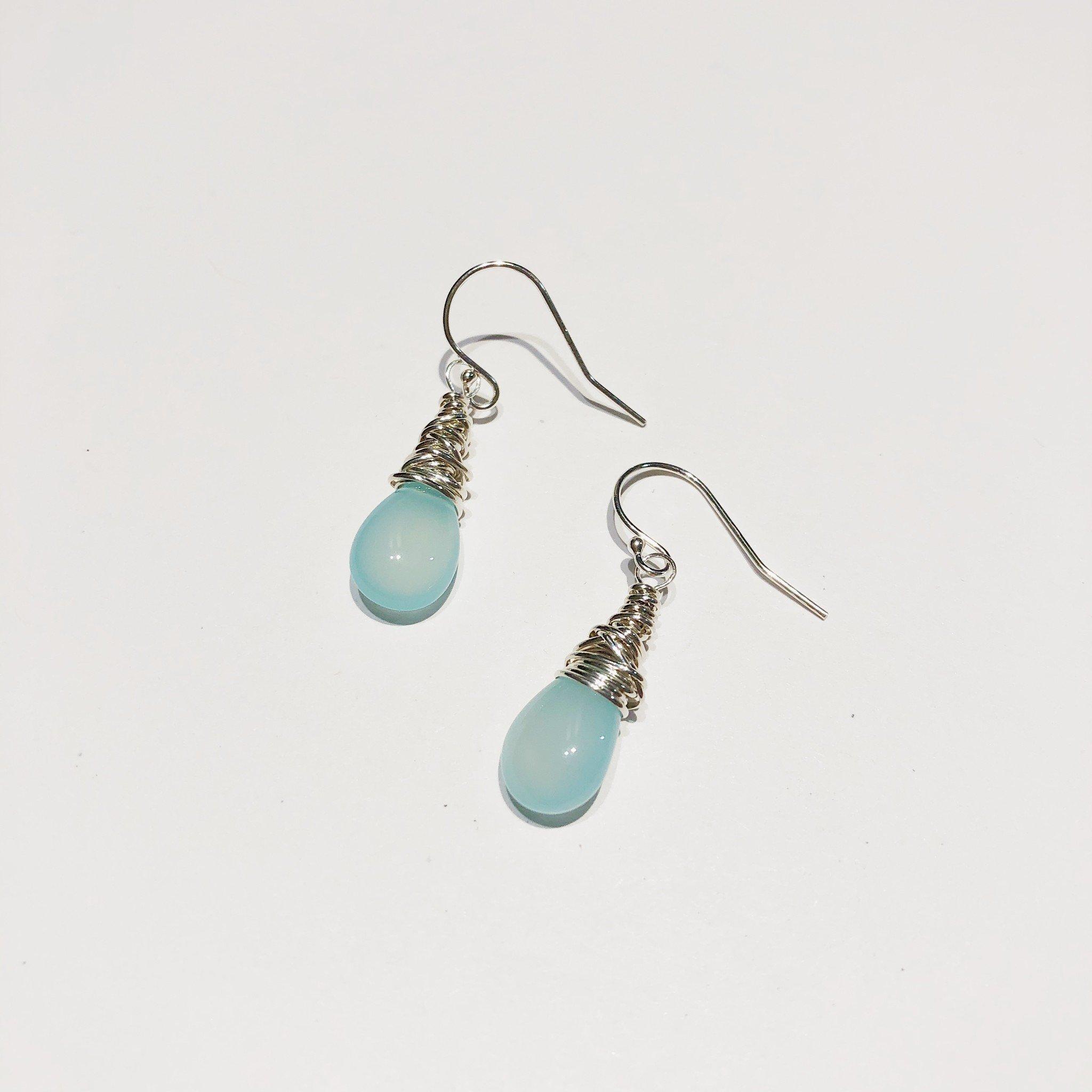 Dianne Rodger Silver Petal Earrings- Chalcedony