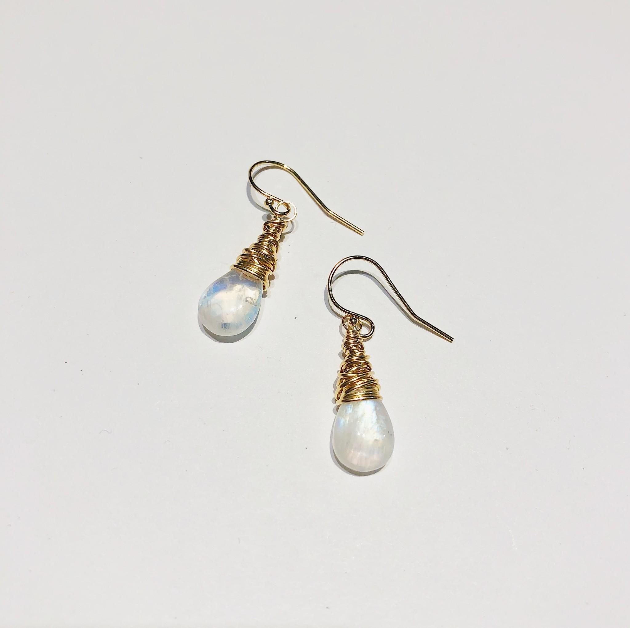Dianne Rodger Gold Petal Earrings- Moonstone