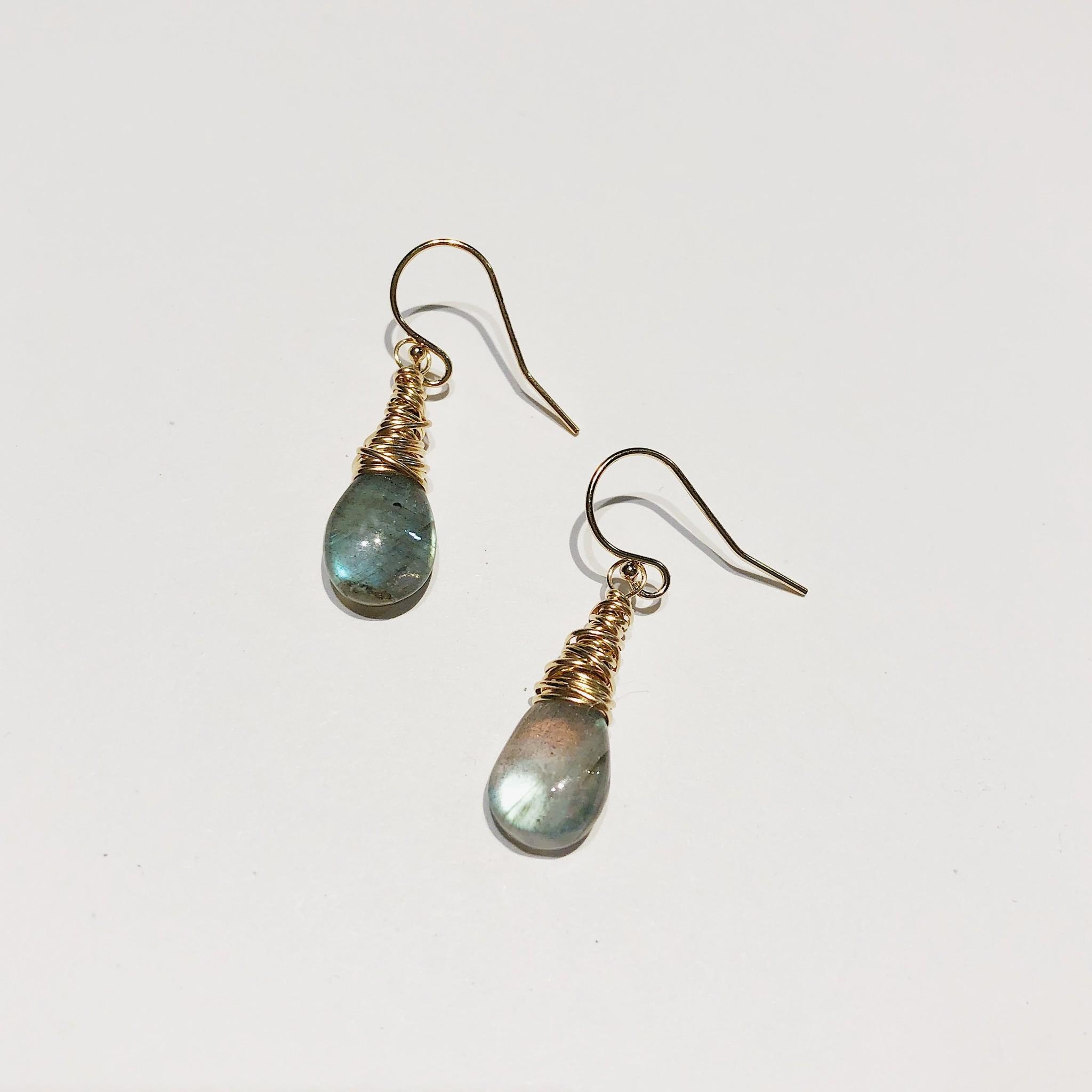 Dianne Rodger Gold Petal Earrings- Labradorite