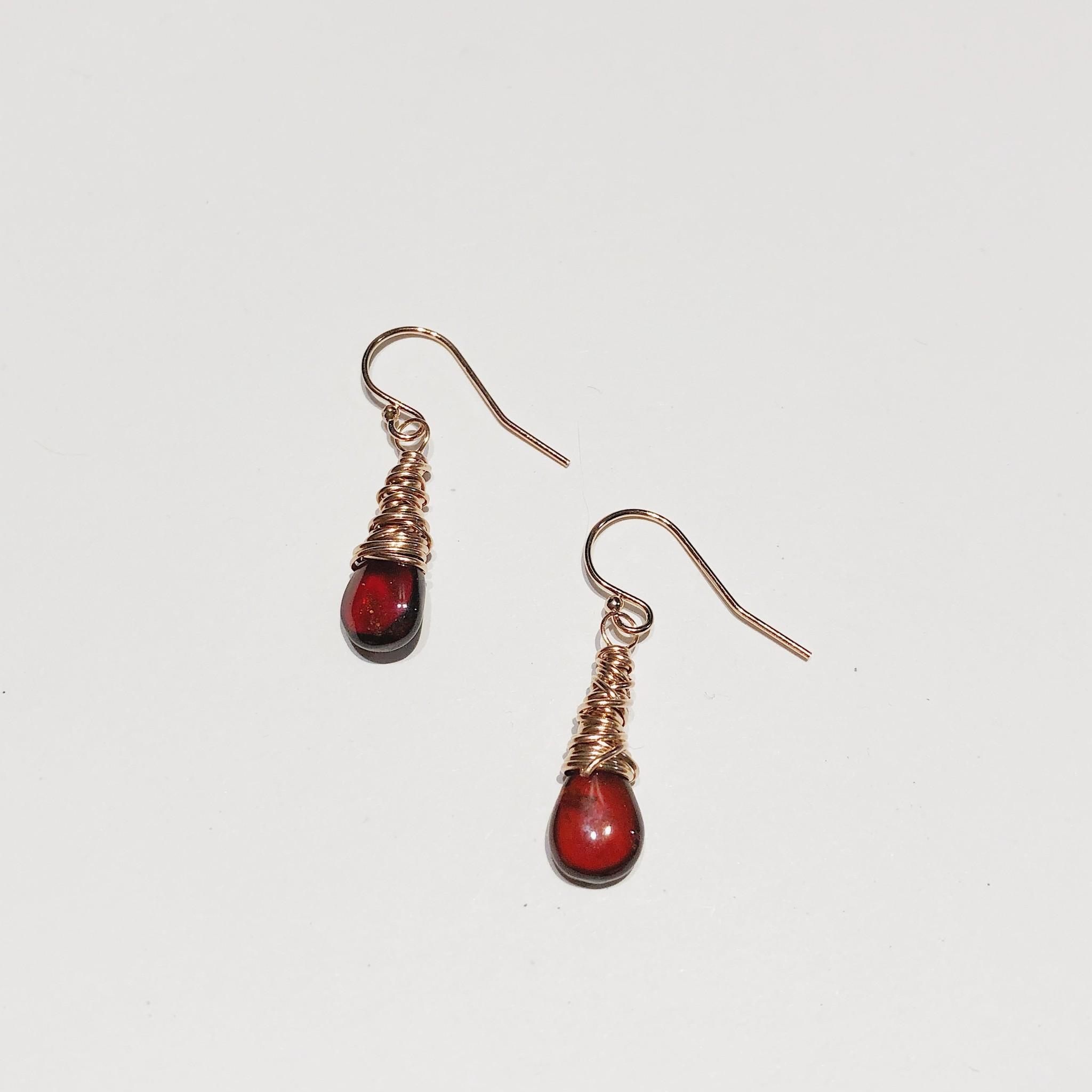Dianne Rodger Rose Gold Petal Earrings- Garnet