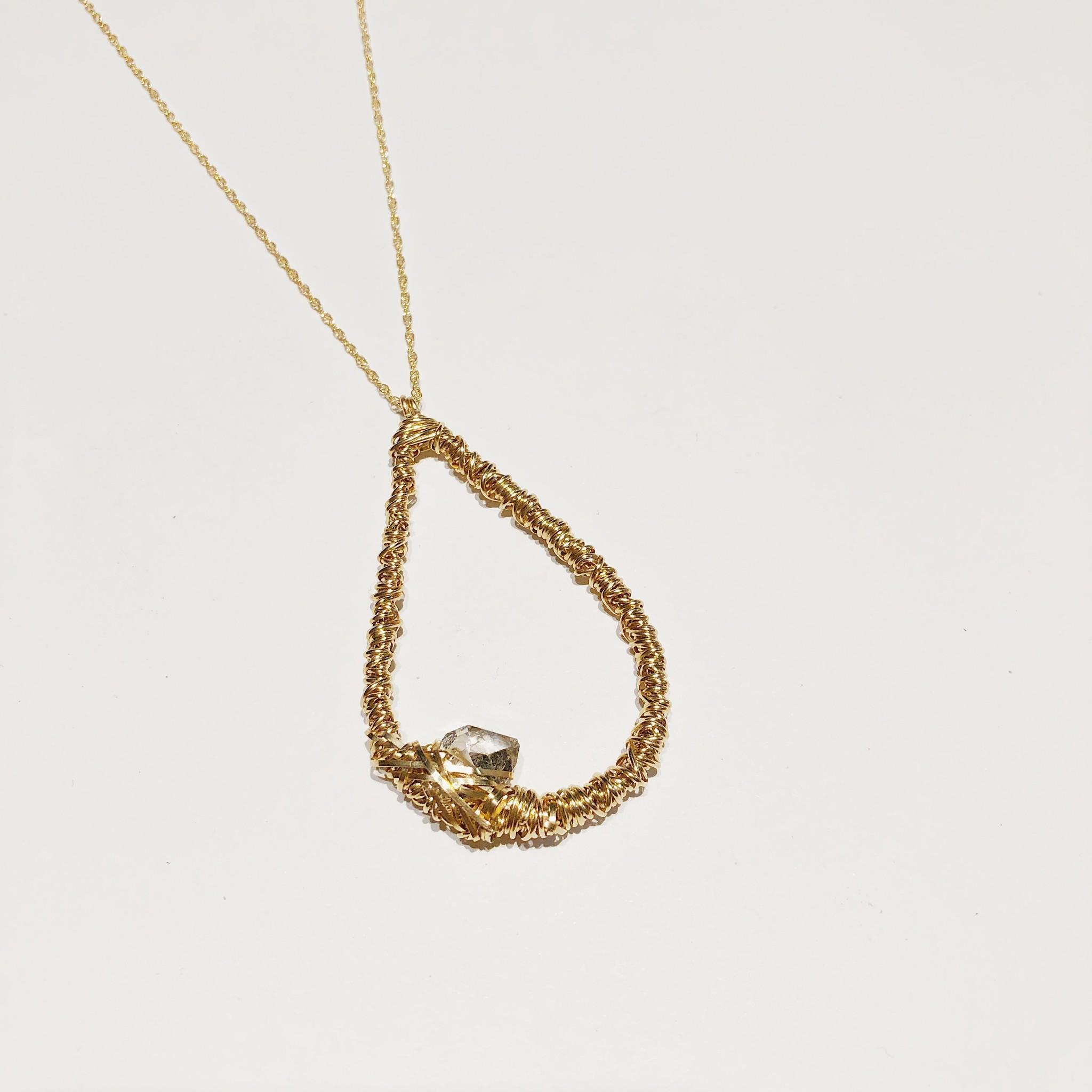 "Dianne Rodger Gold Herkimer Diamond Tear Drop Necklace 24"""