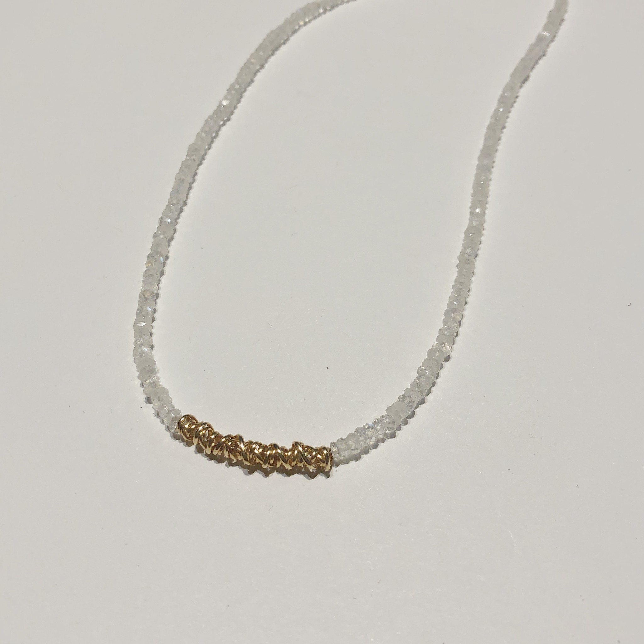 """Dianne Rodger Gold Moonstone Fusion Choker 14-16"""""""