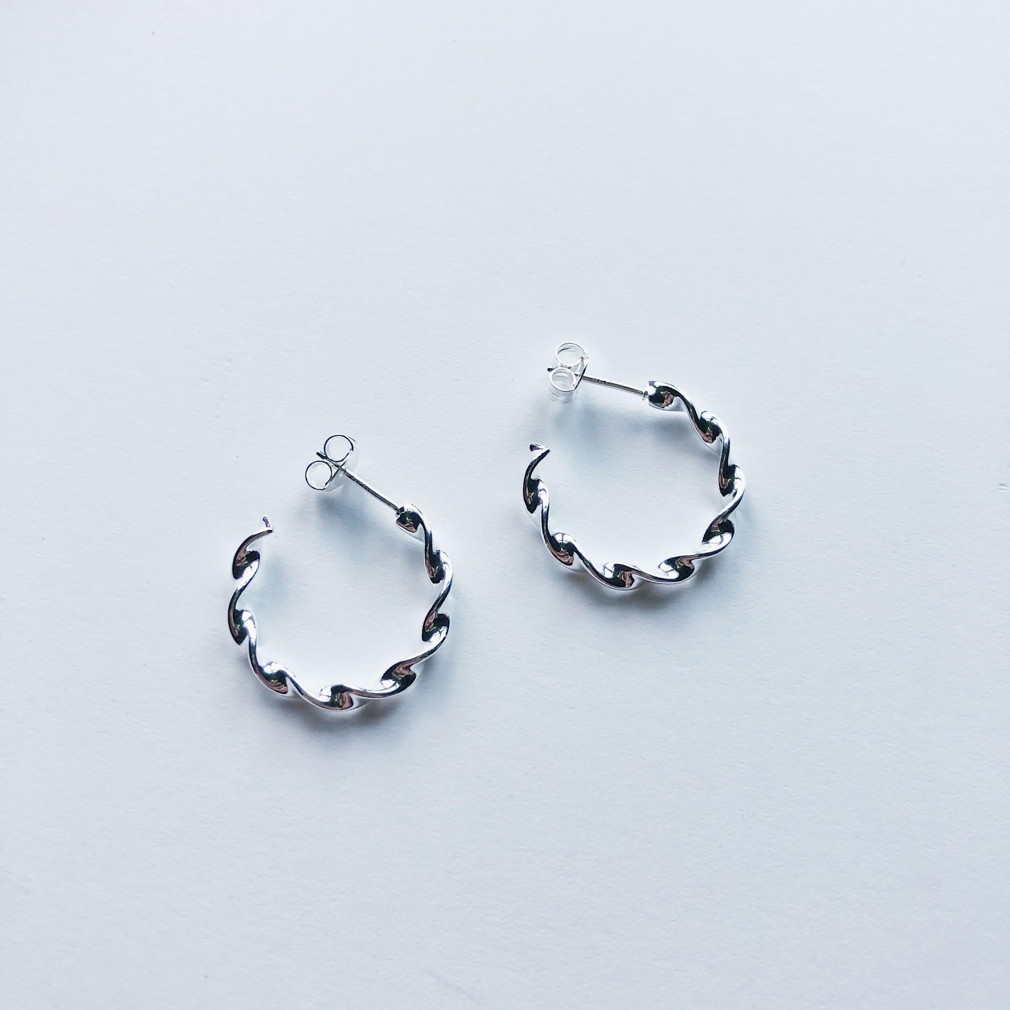 Tashi Small Silver Swirl Hoops on Post