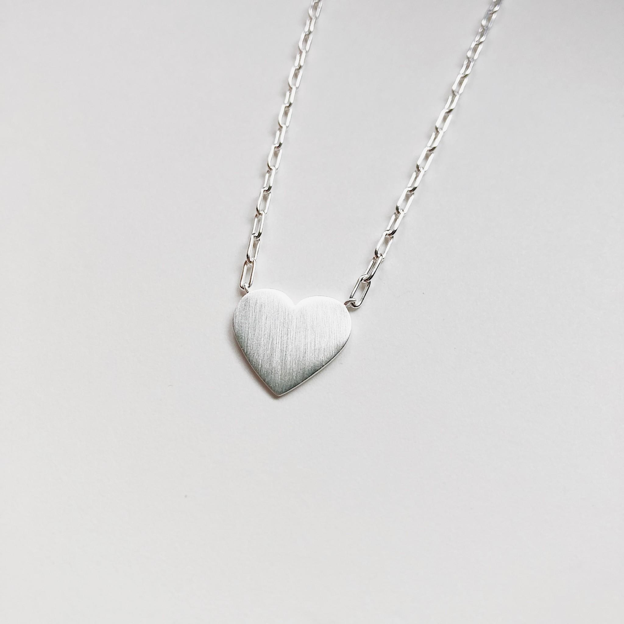 Tashi Silver Brushed Heart Necklace