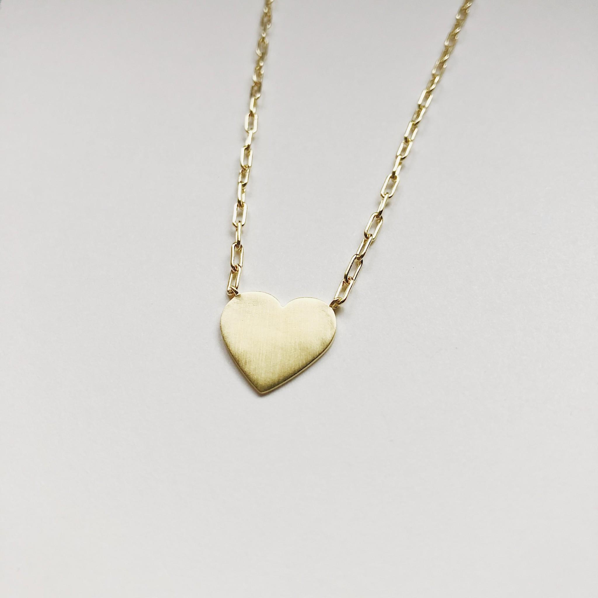 Tashi Brushed Gold Heart Necklace