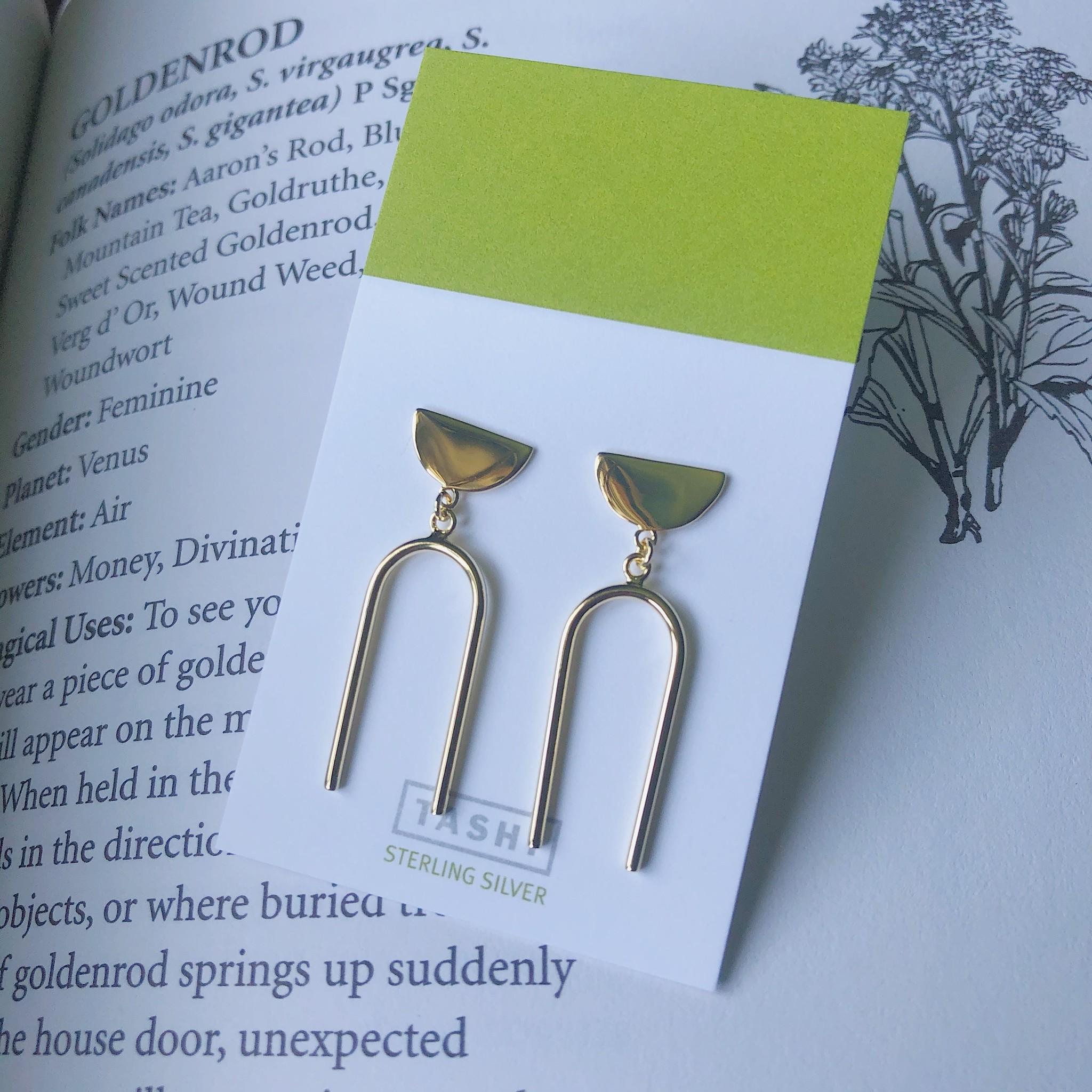 Tashi Shiny Gold Arch Drop Earrings