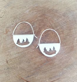 Olive Cedar Sterling Half Moon Earrings - Trees