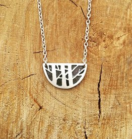 Olive Cedar Half Moon Necklace: Pine