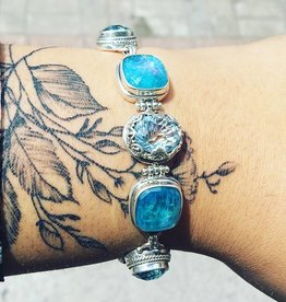 Sky Blue/Glaicier Topaz, Neon Apitite Mother of Pearl, Quartz Bracelet