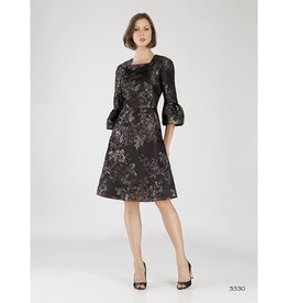 Bigio Floral Jaquared Bell Sleeve Dress