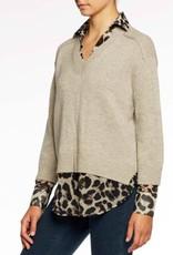 Brochu Walker Brochu Walker V-Neck Printed Layered Pullover