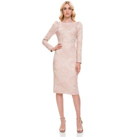 Theia Theia Lantern Sleeve Boatneck Metallic Jacquard Cocktail Dress