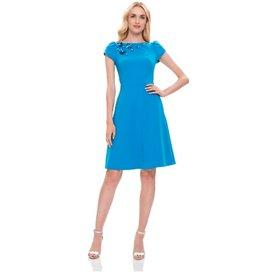 Theia Theia Puff Cap Sleeve Boatneck Crepe Dress