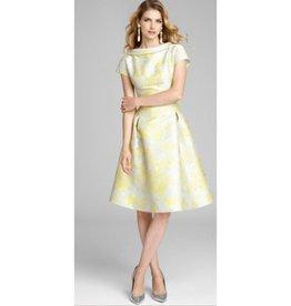 Teri Jon Teri Jon Cap Sleeve Print Jacquard Dress