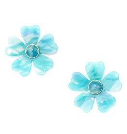 Zenzii Zenzii Tortoise Blossom Earring Aqua