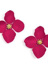 Zenzii Zenzii Large Painted Flower Earrings Hot Pink