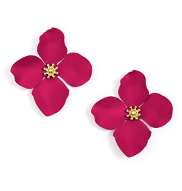 Zenzii Zenzii Large Painted Flower Earrings Hot Pink