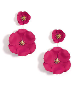 Zenzii Zenzii Two Piece Drop Flower Earring Hot Pink