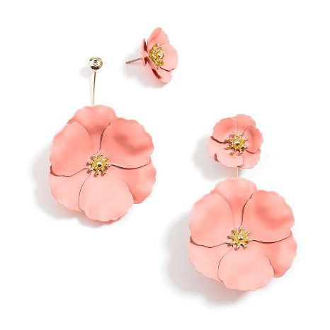 Zenzii Zenzii Two Piece Drop Flower Earring Peach