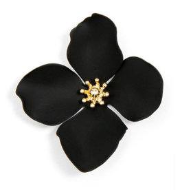 Zenzii Zenzii Large Painted Flower Earrings Black