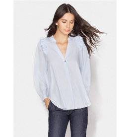 Halston Long Sleeve V Neck Top With Ruffle Detail