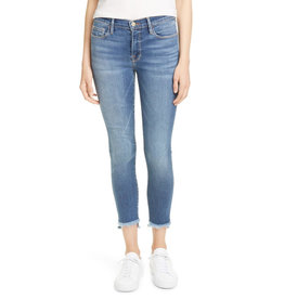 Frame Frame Le Skinny De Jeanne Crop Raw Stagger Micro Shred