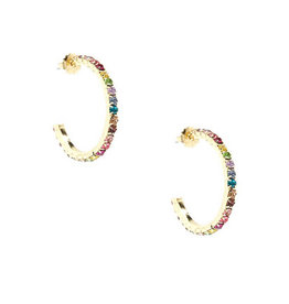 Zenzii Zenzii Colorful Crystals Hoop Earring Multi
