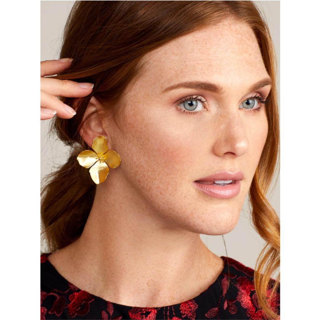 Zenzii Zenzii Petal Flower Earring Matte Silver