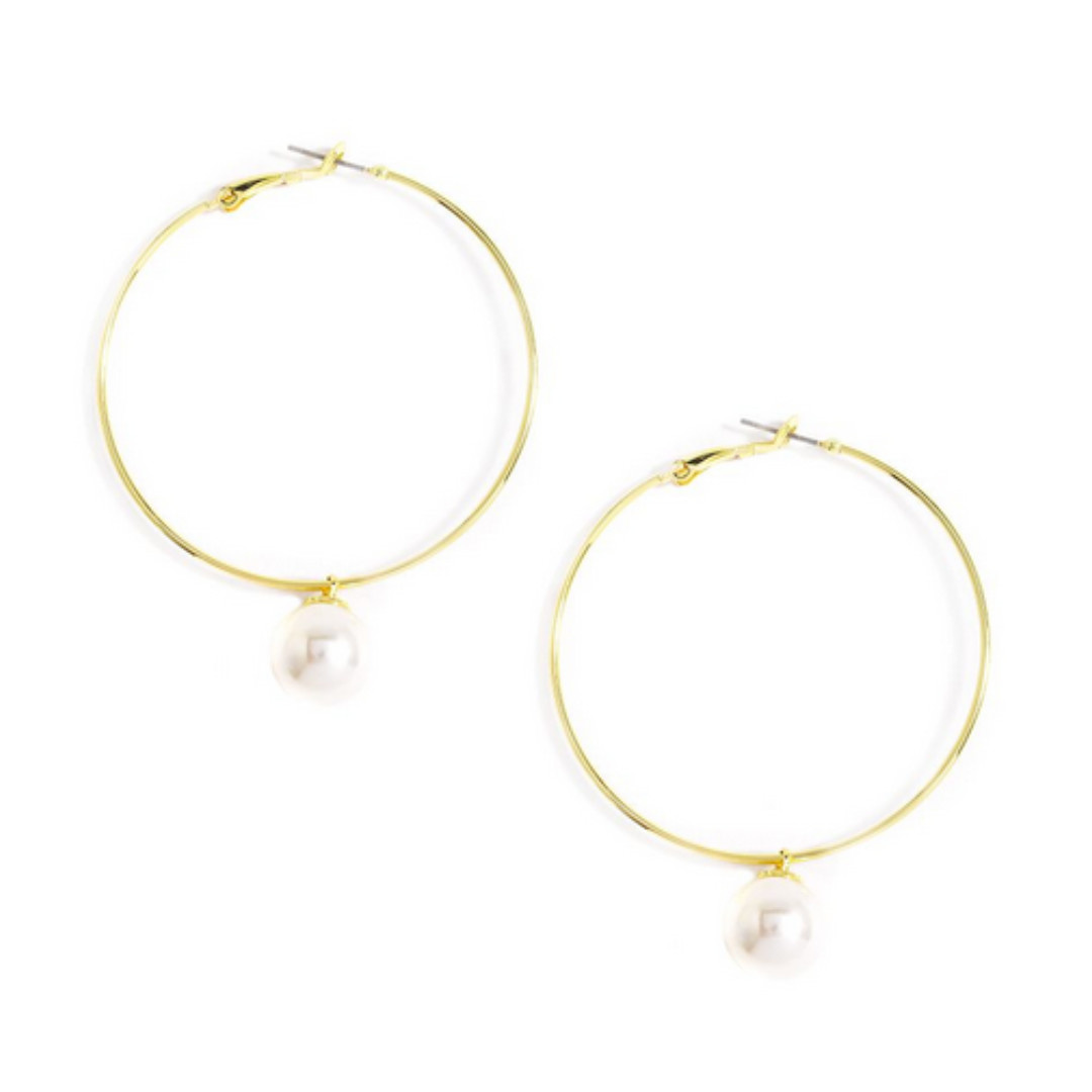 Zenzii Zenzii Gold Hoop With Drop Pearl